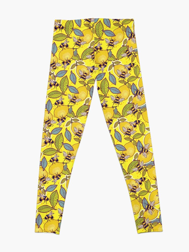 Alternate view of Yellow lemon and bee garden. Leggings