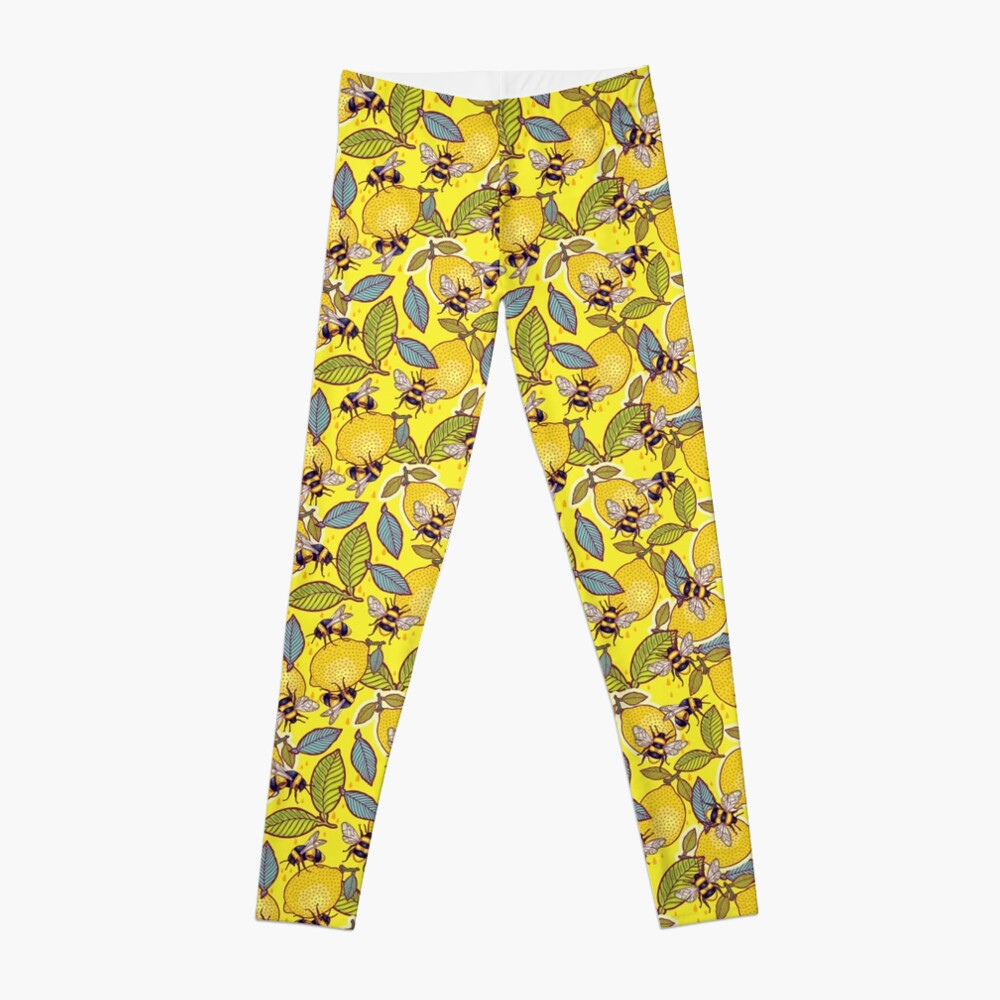Yellow lemon and bee garden. Leggings