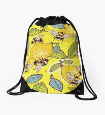Yellow lemon and bee garden. Drawstring Bag