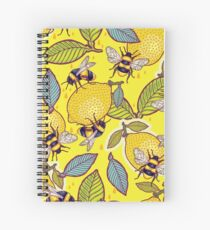 Cuaderno de espiral Amarillo limón y jardín de abejas.