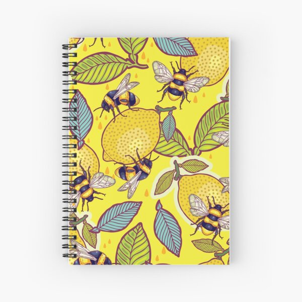 Yellow lemon and bee garden. Spiral Notebook