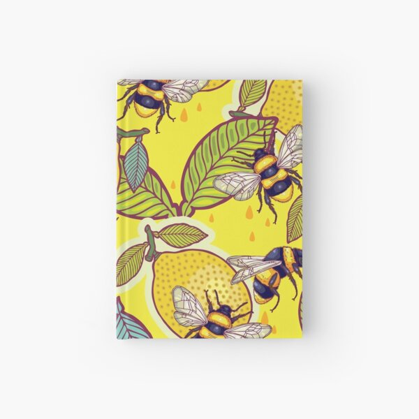 Yellow lemon and bee garden. Hardcover Journal