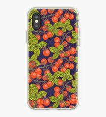 Vinilo o funda para iPhone noche misteriosa en el jardín espacial con tomates cherry y albahaca