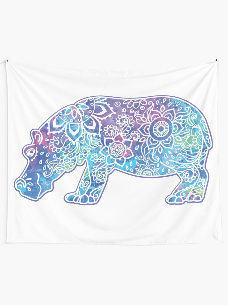 Alternate view of Psychedelic Hippo // Hippy Hippo Tapestry