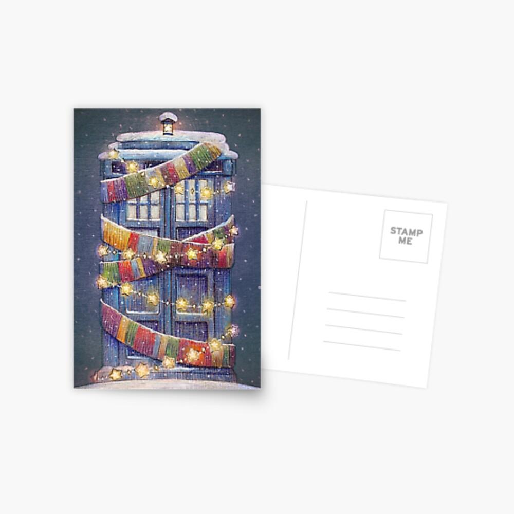 Christmas Police Box Postcard