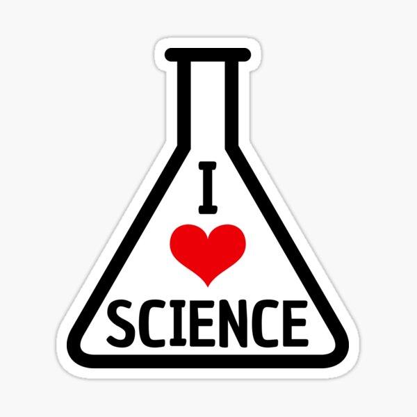 Me encantan las pegatinas de ciencia con corazón rojo en el matraz Erlenmeyer Pegatina