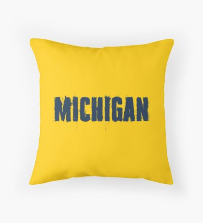 Michigan Trash Letters Throw Pillow