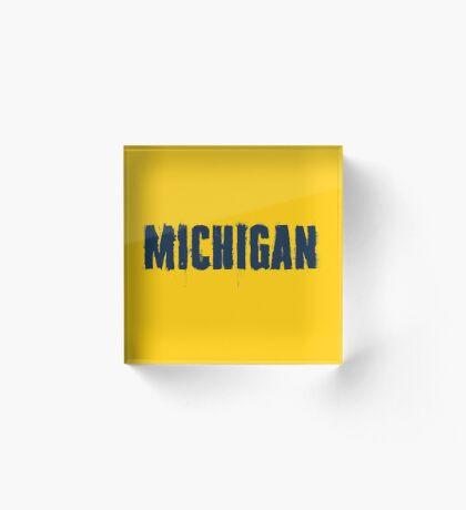 Michigan Trash Letters Acrylic Block