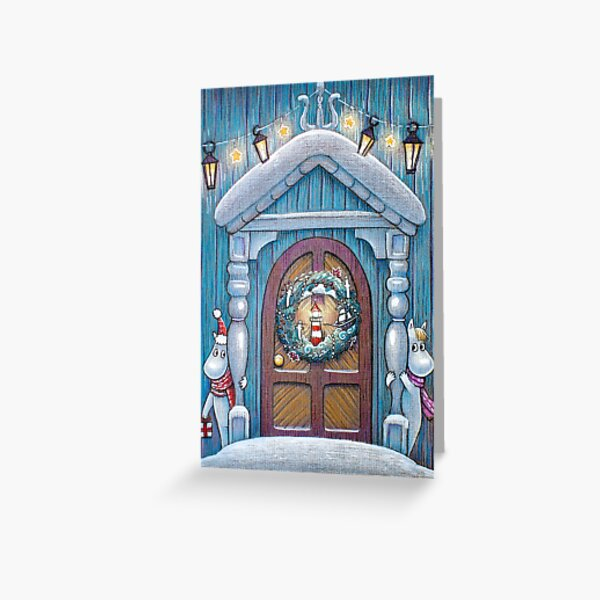 Scandinavian Christmas door Greeting Card