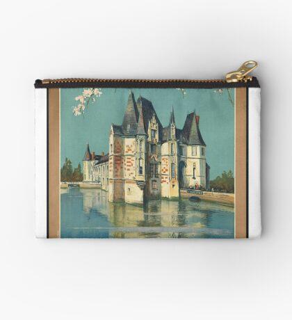 Normandy France Vintage Travel Advertisement Art Poster Zipper Pouch