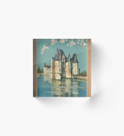 Normandy France Vintage Travel Advertisement Art Poster Acrylic Block