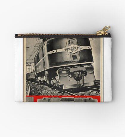 Electric Train Vintage Travel Advertisement Art Poster Zipper Pouch