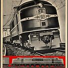 Electric Train Vintage Travel Advertisement Art Poster by jnniepce