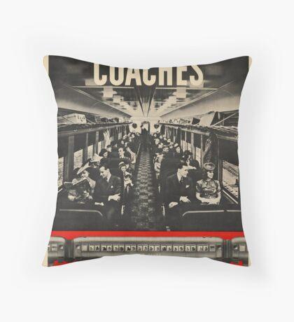 Train Coach Vintage Travel Advertisement Art Poster Throw Pillow