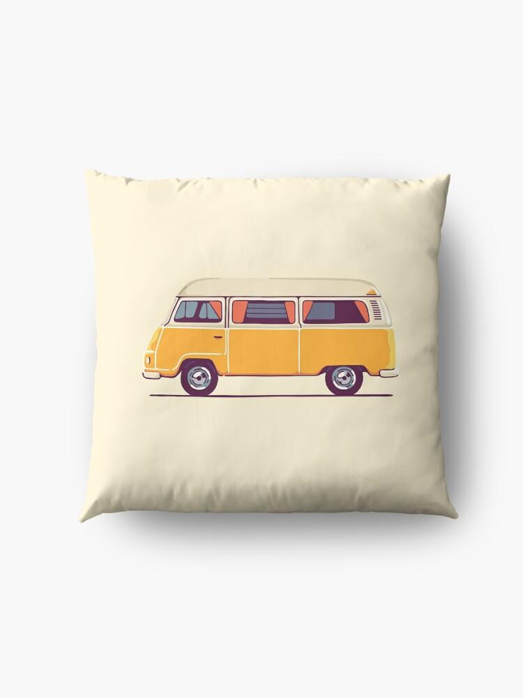 Alternative Ansicht von Vintage Hippie Camping Van Bodenkissen