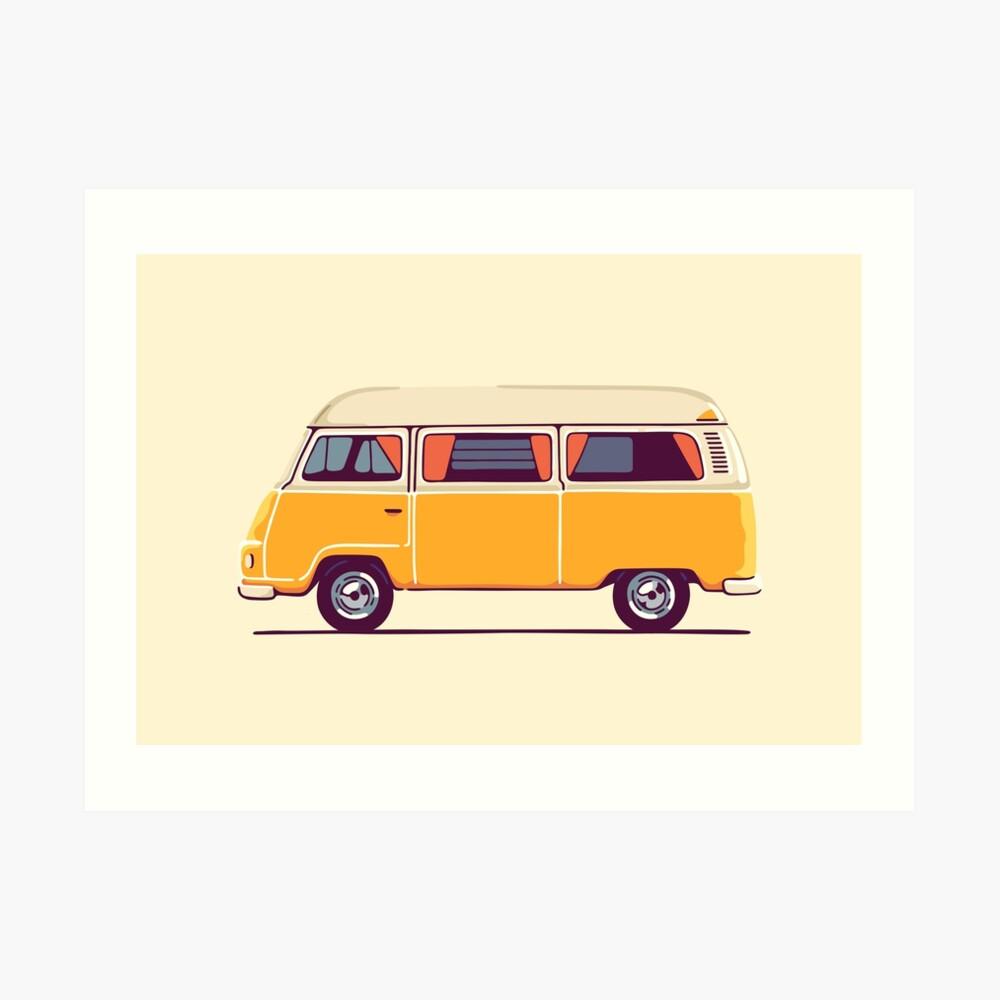 Vintage Hippie Camping Van Lámina artística