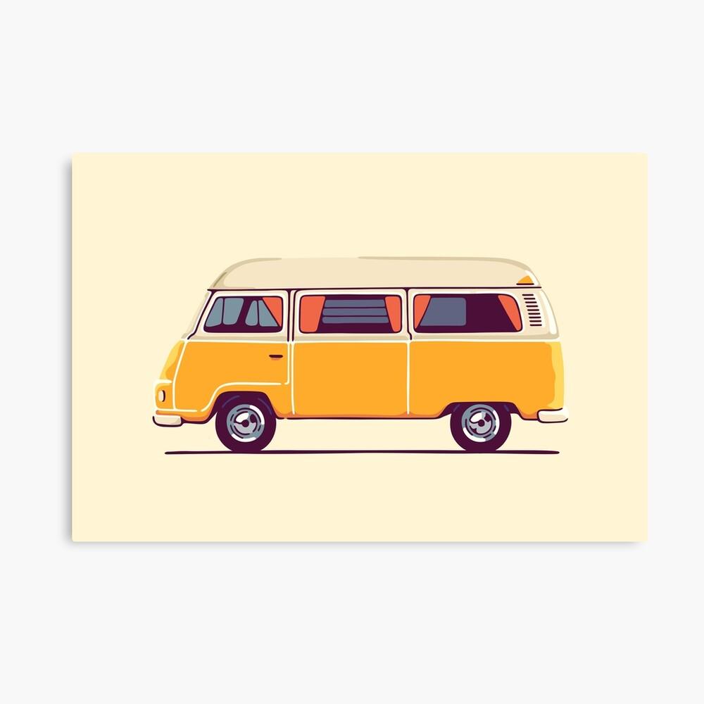 Vintage Hippie Camping Van Leinwanddruck