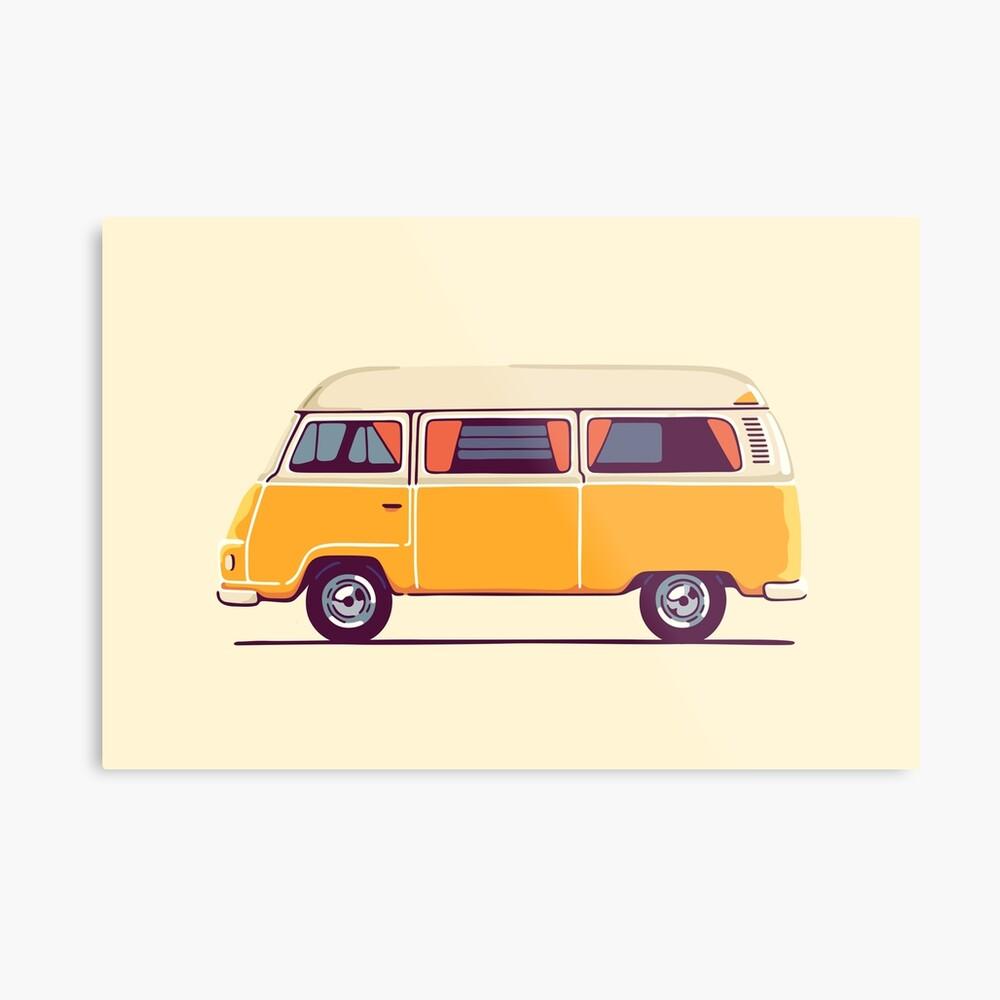 Vintage Hippie Camping Van Metallbild