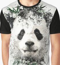 Panda With Bamboo splatter Graphic T-Shirt