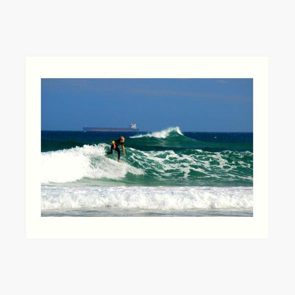 Surf, Waves and Coal Ships - Redhead Beach NSW Art Print