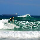 Surf, Waves and Coal Ships - Redhead Beach NSW by Bev Woodman