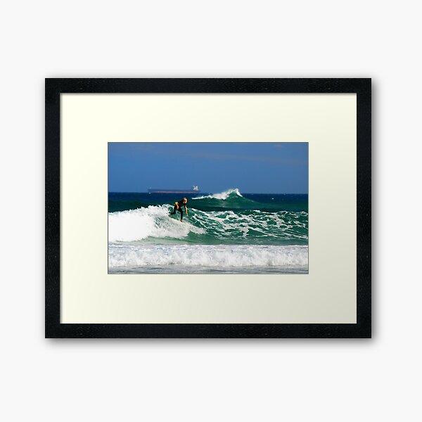 Surf, Waves and Coal Ships - Redhead Beach NSW Framed Art Print