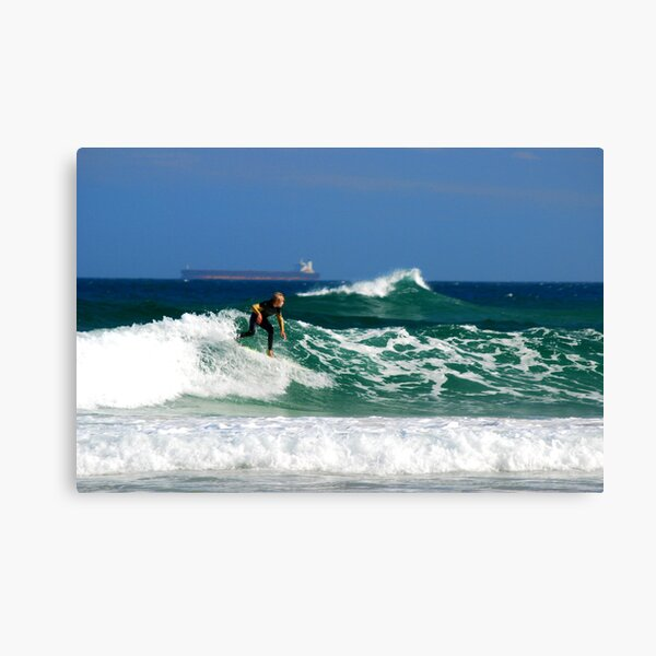 Surf, Waves and Coal Ships - Redhead Beach NSW Canvas Print