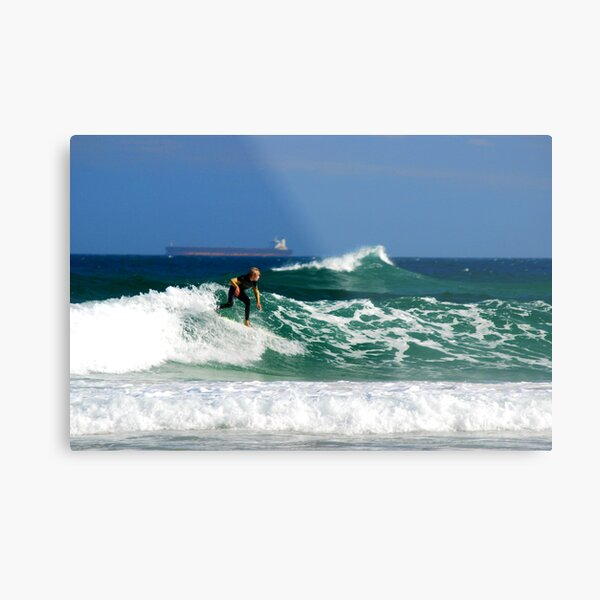 Surf, Waves and Coal Ships - Redhead Beach NSW Metal Print