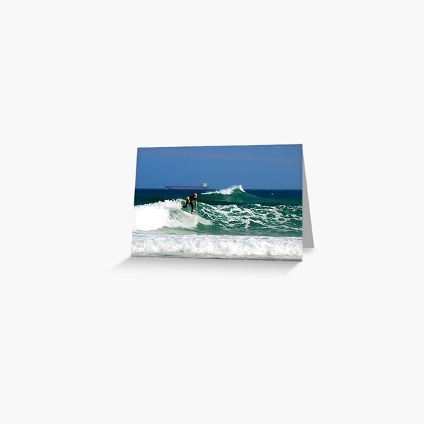 Surf, Waves and Coal Ships - Redhead Beach NSW Greeting Card