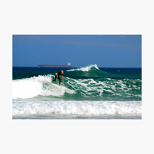 Surf, Waves and Coal Ships - Redhead Beach NSW Photographic Print