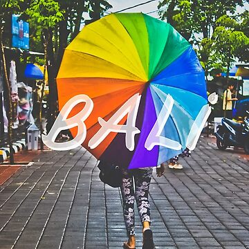 Bali Umbrella Typography Print by AndAndy