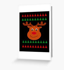 Reindeer Christmas Ugly Sweater Greeting Card