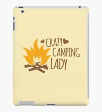 Crazy Camping Lady with camp fire and sticks iPad Case/Skin