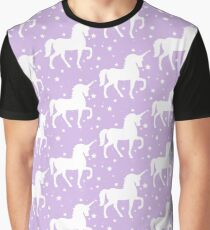 Purple Violet Unicorn Pattern Graphic T-Shirt