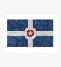 Indianapolis City Flag/Map Art Print