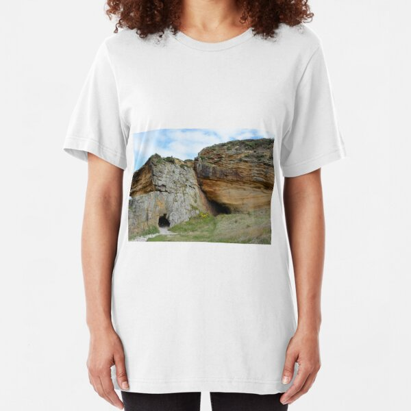 Caves at Clashach Cove, Moray Slim Fit T-Shirt