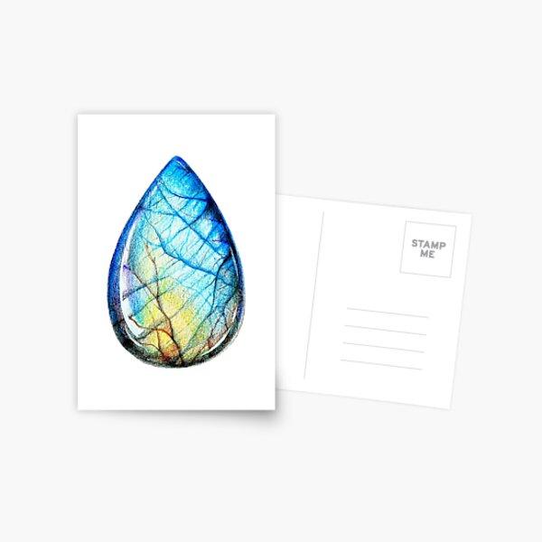 Colored pencils labradorite crystal gem Postcard