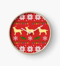 Yellow Labrador Retriever Trio Christmas Pattern Clock