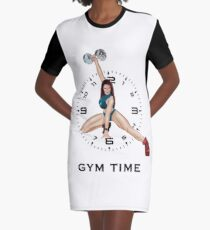 Gym Time in Black Graphic T-Shirt Dress