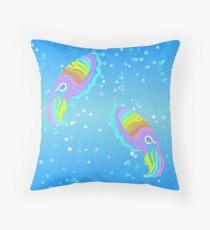 Deep-sea Neon - Tribalish Cuttlefish Throw Pillow