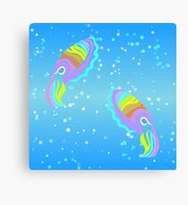 Deep-sea Neon - Tribalish Cuttlefish Canvas Print
