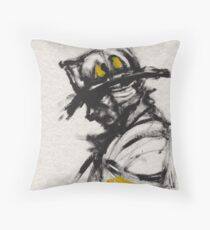 The Firefighter in Thought Throw Pillow