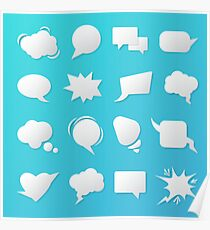 Comic Speech Bubbles. Blank Templates for Chat. Poster