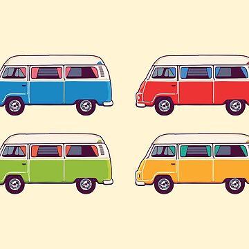 Vintage Hippie Camping Van Aufkleber Set von sundrystudio