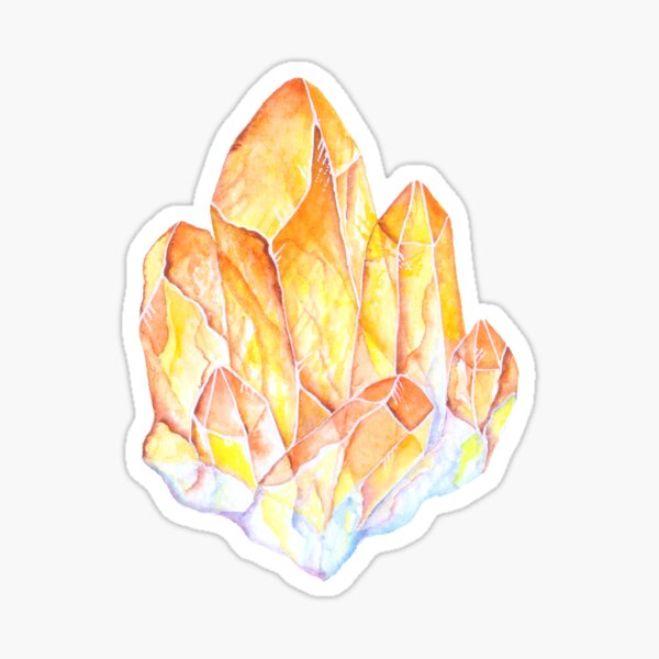 Yellow Topaz Watercolor gem stone Sticker