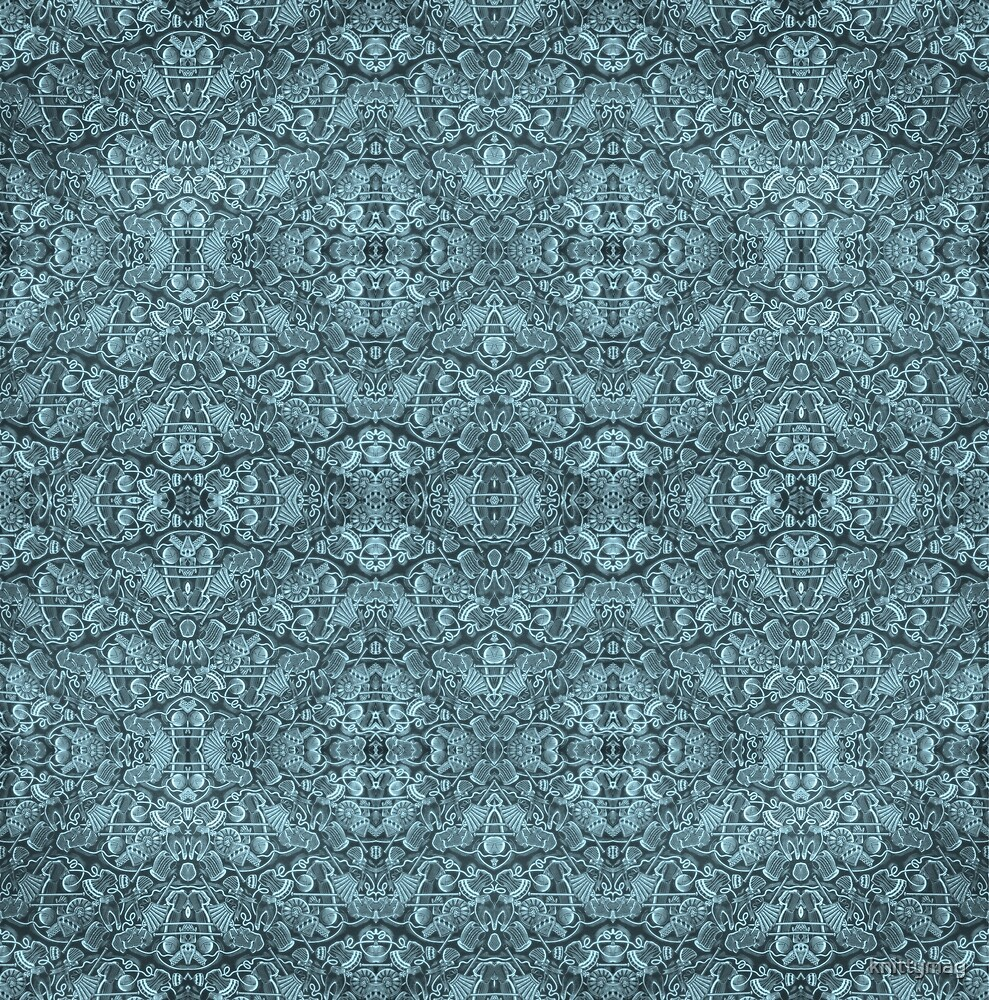 Kaleidoscope Vintage Endpaper (cyan) by knittymag