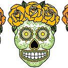 Three Sugar Skulls - Yellow Roses by Lisa Vollrath