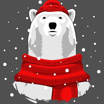 Polar bear in red hat and scarf by lents