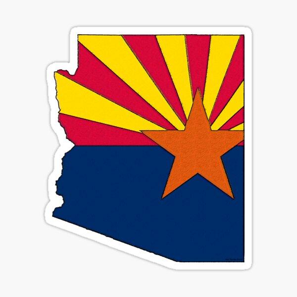 Arizona Map With Arizona State Flag Sticker