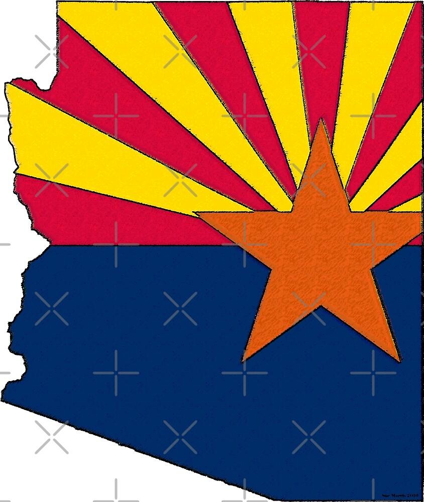 Arizona Map With Arizona State Flag by Havocgirl
